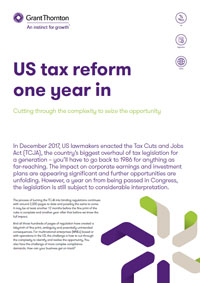 Factsheet cover - US tax reform one year in